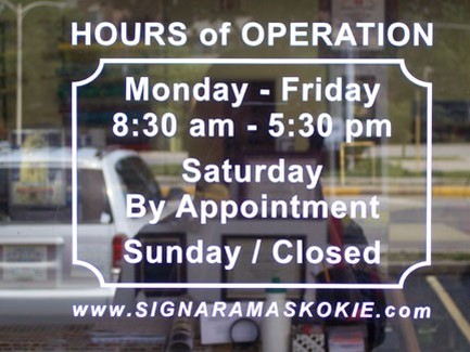 "Hours of Operation Sign 8/"" x  8/"""
